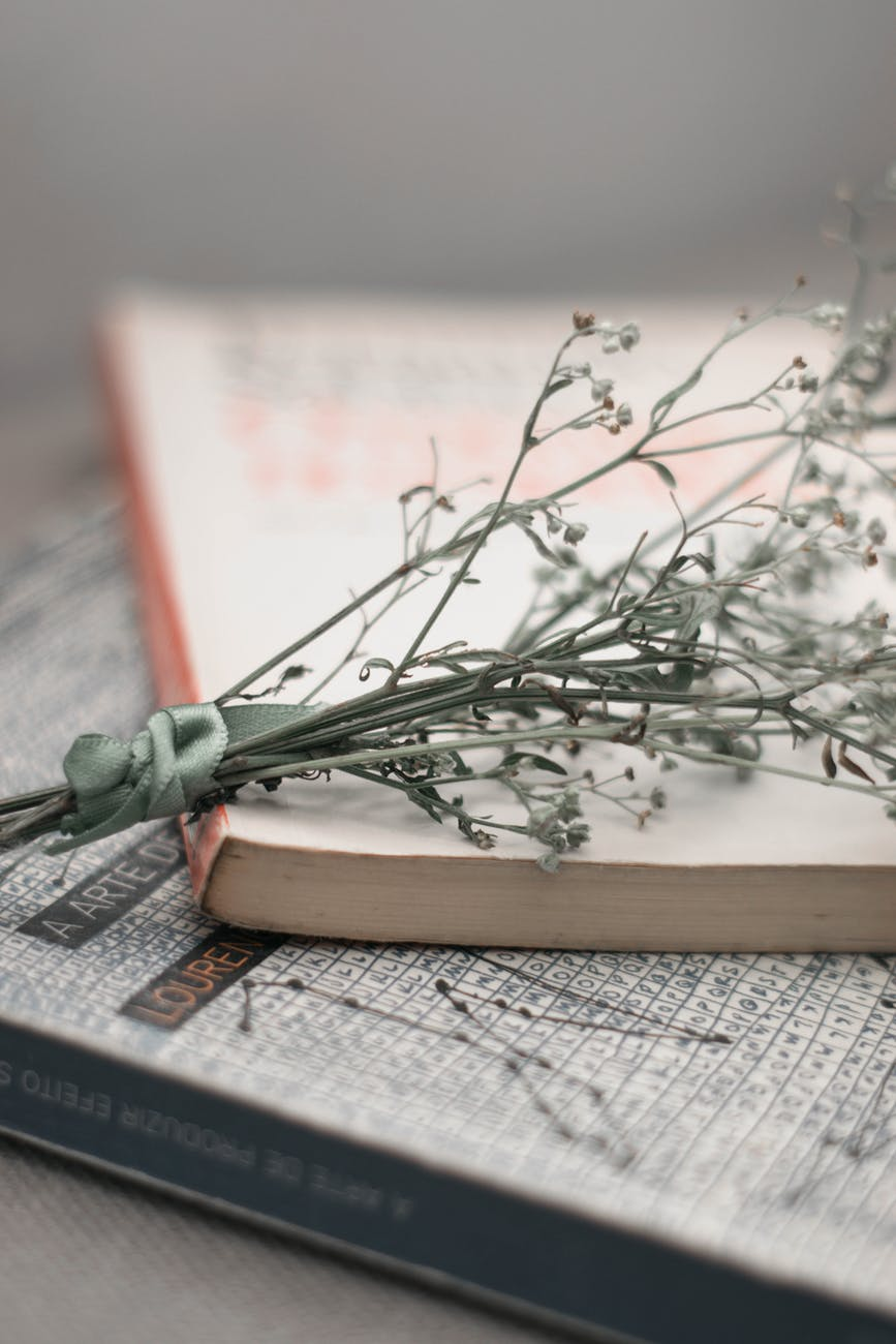 Two closed books with a small bundle of dried flowers.